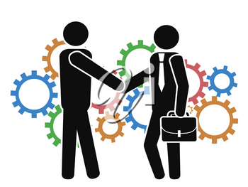 isolated businessman shake hand with mechanism gears from white background