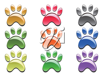isolated color paw prints icon on white background