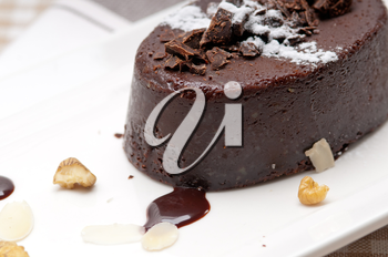 Royalty Free Photo of a Piece of Chocolate Cake with Walnuts