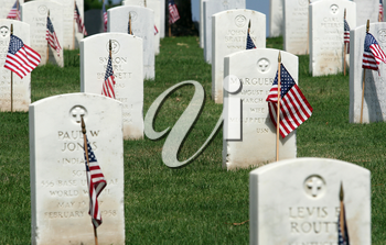 Royalty Free Photo of Gravestones At A National Cemetery