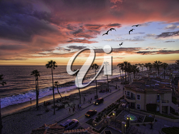 Royalty Free Photo of a Colorful sunset with Seabirds passing over the coastline in Oceanside, California, USA.