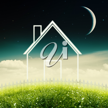 Eco House Concept. Abstract environmental backgrounds