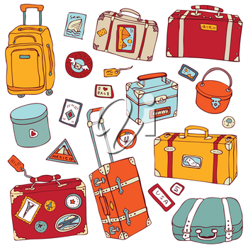 Royalty Free Clipart Image of a Group of Suitcases