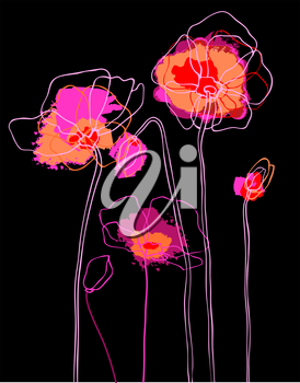 Royalty Free Clipart Image of Poppies on a Background