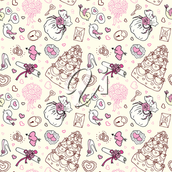 Wedding patterns of cute hand drawn illustration. Seamless vector background.