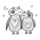 Two cute decorative owls. Vector hand drawn cartoon illustration.