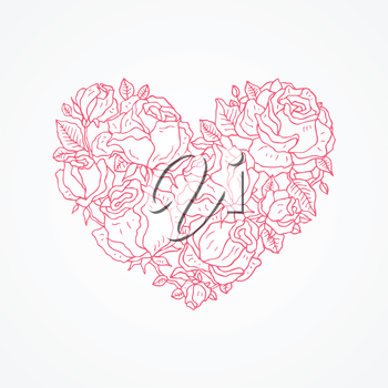 Heart of roses. Valentine Greeting card. Hand drawn vector illustration.