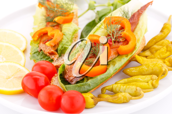 Smoked fish with fresh vegetables on plate.