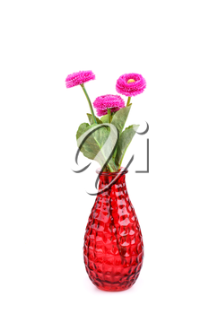 Pink fabric flowers in vase isolated on white background.