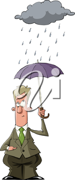 Royalty Free Clipart Image of a Man Under an Umbrella
