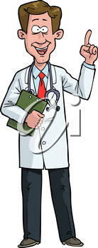 Cartoon doodle exclaims the doctor vector illustration