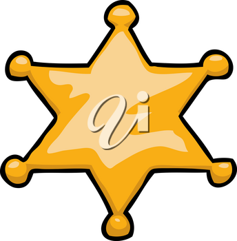 Cartoon doodle star sheriff on a white background vector illustration