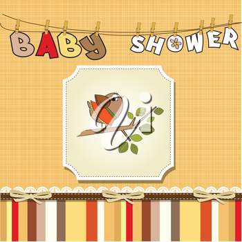 Royalty Free Clipart Image of a Bird on a Baby Background