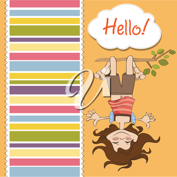 Royalty Free Clipart Image of a Girl Hanging Upside Down With a Striped Border