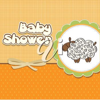 Royalty Free Clipart Image of a Baby Shower Background With a Sheep