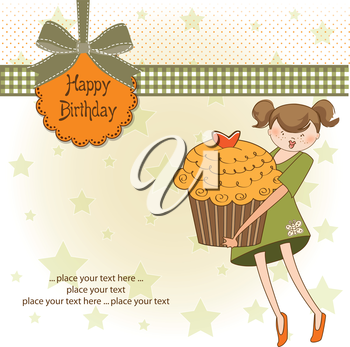 Royalty Free Clipart Image of a Birthday Greeting With a Girl Holding a Cupcake