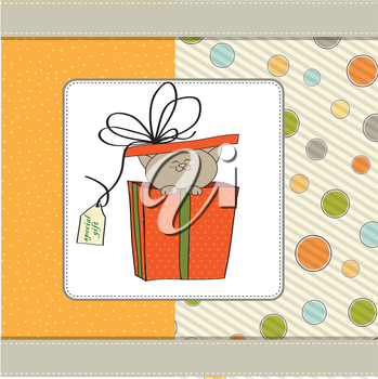 Royalty Free Clipart Image of a Cat in a Present
