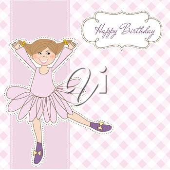 Royalty Free Clipart Image of a Ballerina Birthday Card