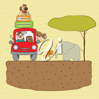Royalty Free Clipart Image of People on Vacation With an Elephant Beside the Car
