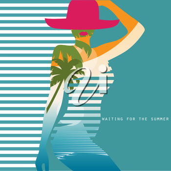 Vector double exposure illustration. Woman in swimsuit eps10