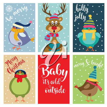 Christmas card collection . Labels. Stickers. Flat design