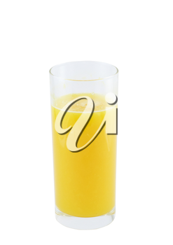 Glass of fresh orange juice with squeeze slice on white background.