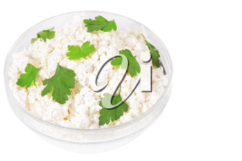 Fresh cottage cheese (curd) in glass bow, isolated on white background.