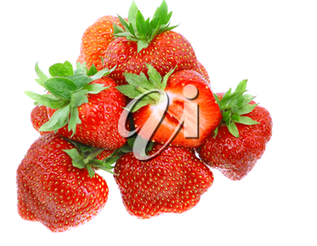 A heap of fresh strawberries on white background. Isolated
