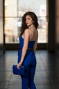 Beautiful Woman Wearing Blue Suit