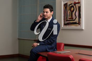 Young Businessman Working At His Computer While Talking On The Phone