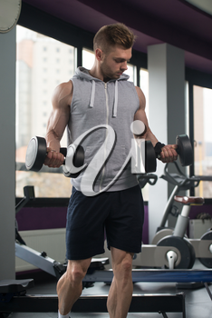 Muscular Young Man Doing Heavy Weight Exercise For Biceps With Dumbbells In Modern Fitness Center Gym