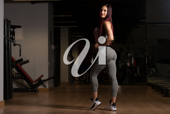 Healthy Young Woman Standing Strong In The Gym And Flexing Muscles - Beautiful Athletic Fitness Model Posing After Exercises