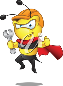 Royalty Free Clipart Image of a Caped Bee With a Hardhat and Wrench