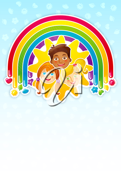 Three happy children in a rainbow and the sun - template