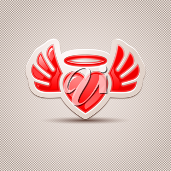 Heart with wings, the icon for your design. 10 eps.