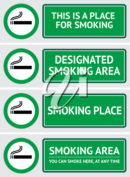 Labels set smoking place stickers. Vector design element
