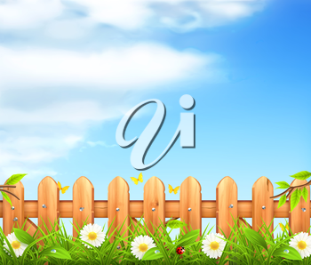 Spring background, grass and wooden fence vector