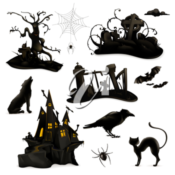 Halloween set of vector black silhouettes