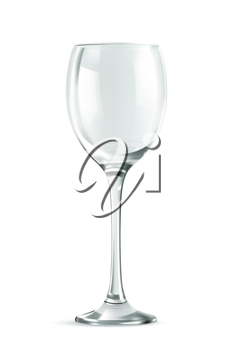 Classic empty wine glass, necessary accessories for parties, isolated on white vector illustration
