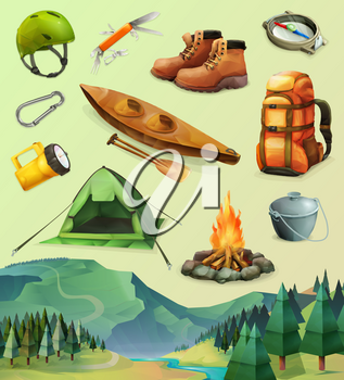 Camp set of vector icons, low poly style