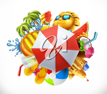 Summer beach set. 3d vector icon