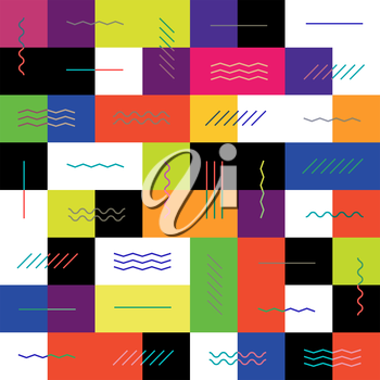 Geometric colorful background. Seamless. Colorful square tiles and contrast straight, zigzag, repeat, wave and chevron lines. Good for packaging backgrounds etc