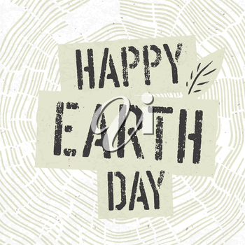Happy Earth Day Logotype on Tree Rings Background. Template for Celebrating card