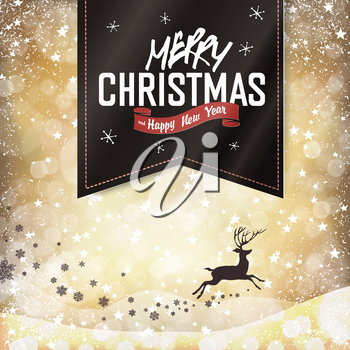 Merry Christmas Vintage Background. Falling Snow and Black Badge with Greeting and Christmas deer silhouette. All layers separated and can be edited.