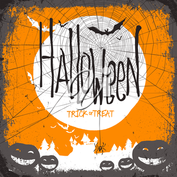 Halloween vector illustration. Dry tree, full moon and pumpkins and bats and castle and web
