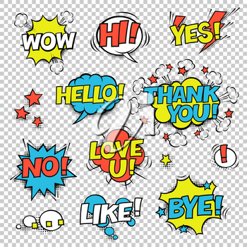 HI, YES, THANK YOU, HELLO, WOW, LOVE U, NO, ..., LIKE, BYE, !. Comic speech bubbles set. Halftones, stars and other elements in separated layers. Colorful design on transparent background.