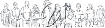 Young students of different nations. Happy students with backpacks and books. Happy multicultural teenagers in youth lifestyle clothes.  Black and white hand drawn sketch illustration on white background, isolated.