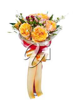 colorful autumn flower bouquet arrangement centerpiece in vase isolated on white background