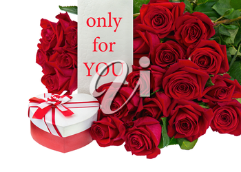 Gift Box in Shape of Heart and Bouquet from Roses Flowers Isolated on White Background.