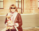 Cute Woman and Her Chihuahua Dog on Nature Background. With Retro Vintage Instagram Filter